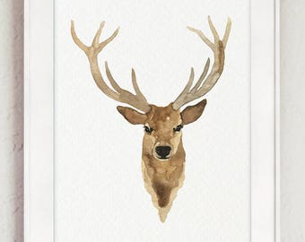 Canvas Deer Head Watercolor Painting Giclee Fine Art Print Antlers Brown Caramel Black Bedroom Illustration Stag Drawing Animal Wall Decor