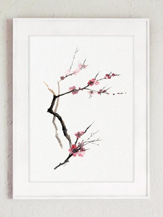 Árbol de flor de cerezo rosa flores acuarela regalos para la   Etsy