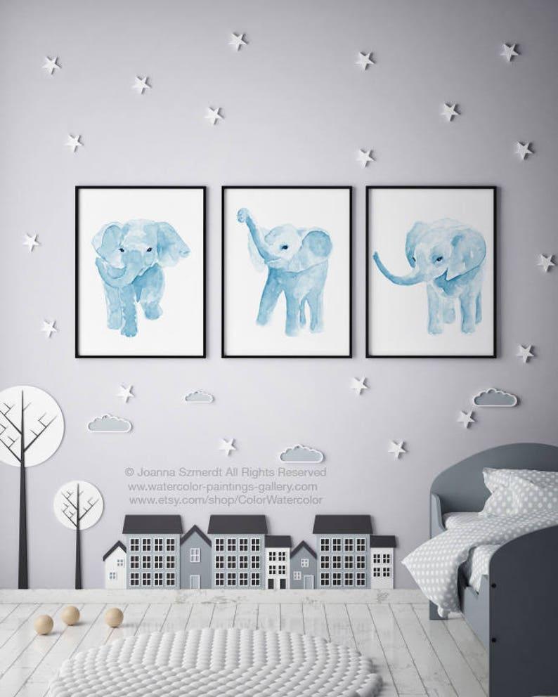 Elephant Watercolor set 3 Art Print Nursery Baby Boy Kids Room image 0