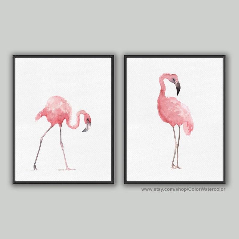 Flamingo Nursery Poster Kids Illustration Children Blush Pink image 1