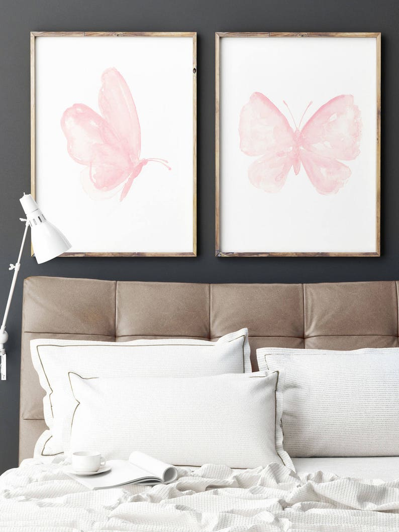 Butterfly Print Pale Pink Insect Watercolor Wall Decor image 0