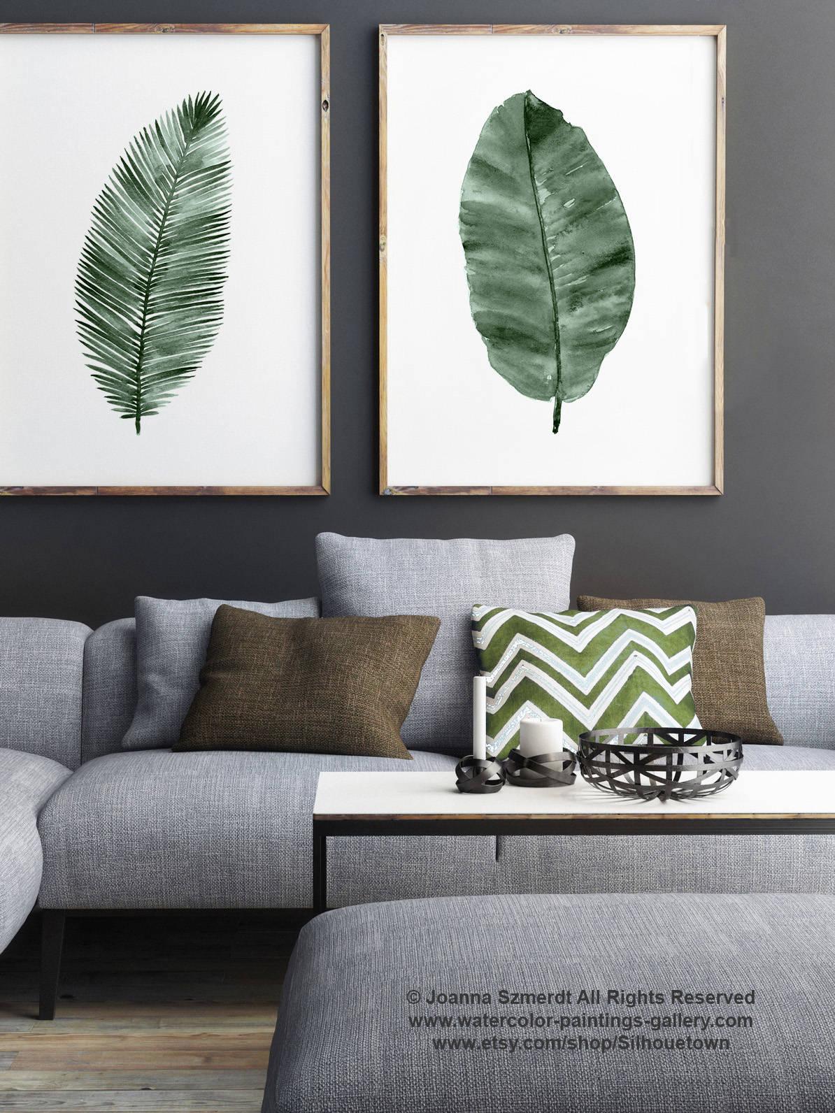 Palm Leaf Kunstdruck Leinwand Aquarell-Malerei set 2 grüne   Etsy