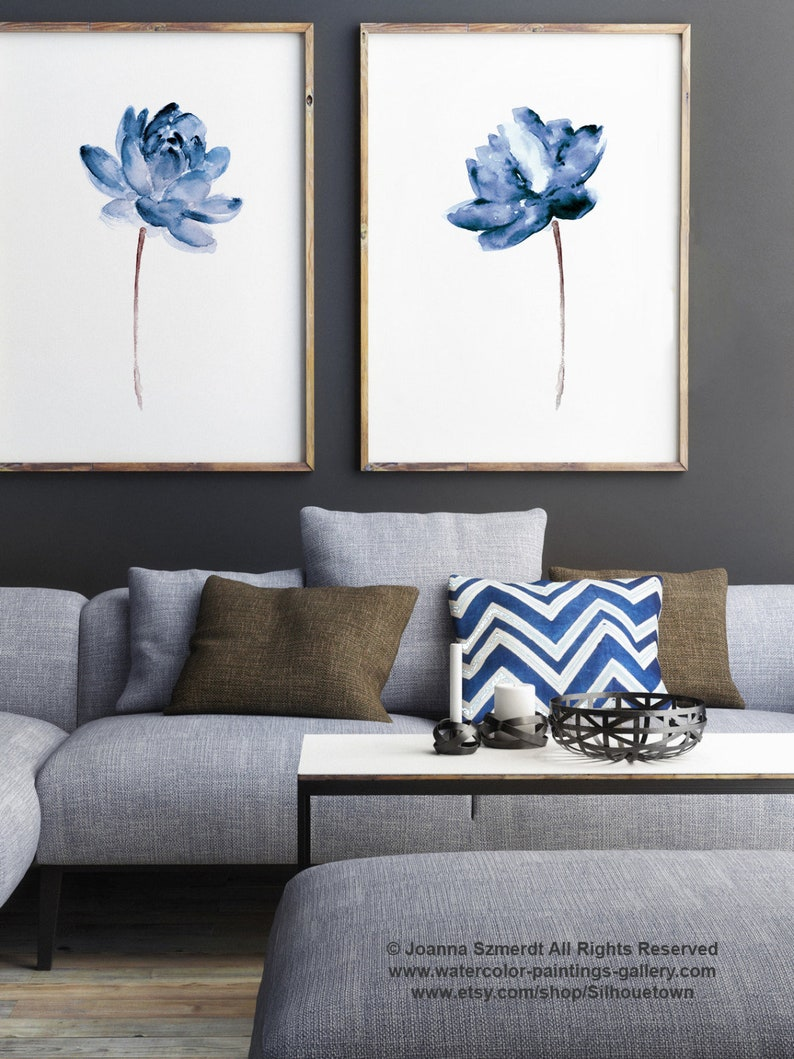 Lotus Set of 2 Watercolor Painting Blue Water Flowers Canvas image 0