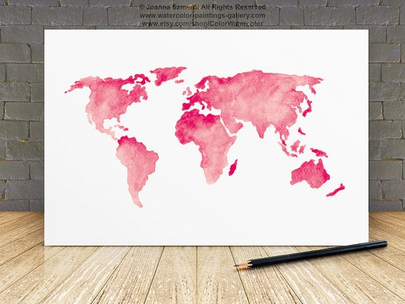 World map silhouette baby pink wall decor girls nursery room gumiabroncs Image collections