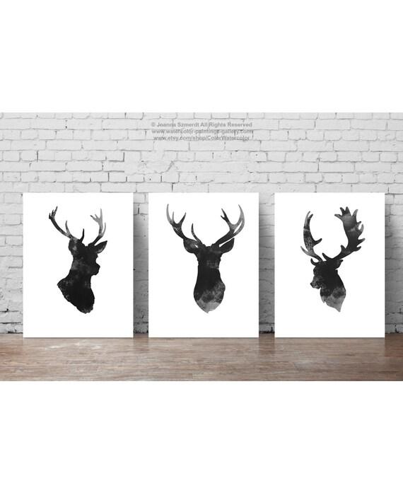 Ensemble De Tête De Cerf De 3 Dessin Minimaliste Gris Silhouette Noire D Antlers Illustration De Décor De Mur Affiche Abstraite D Animal D Encre