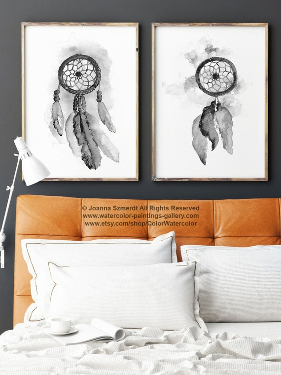 Atrapasueños set 2 arte impresiones gris ilustración acuarela | Etsy
