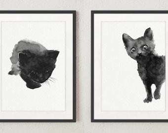 Black Cat Art Print, set 2 Cats Watercolor Painting, Two Black Kitten Kitty Home Decor