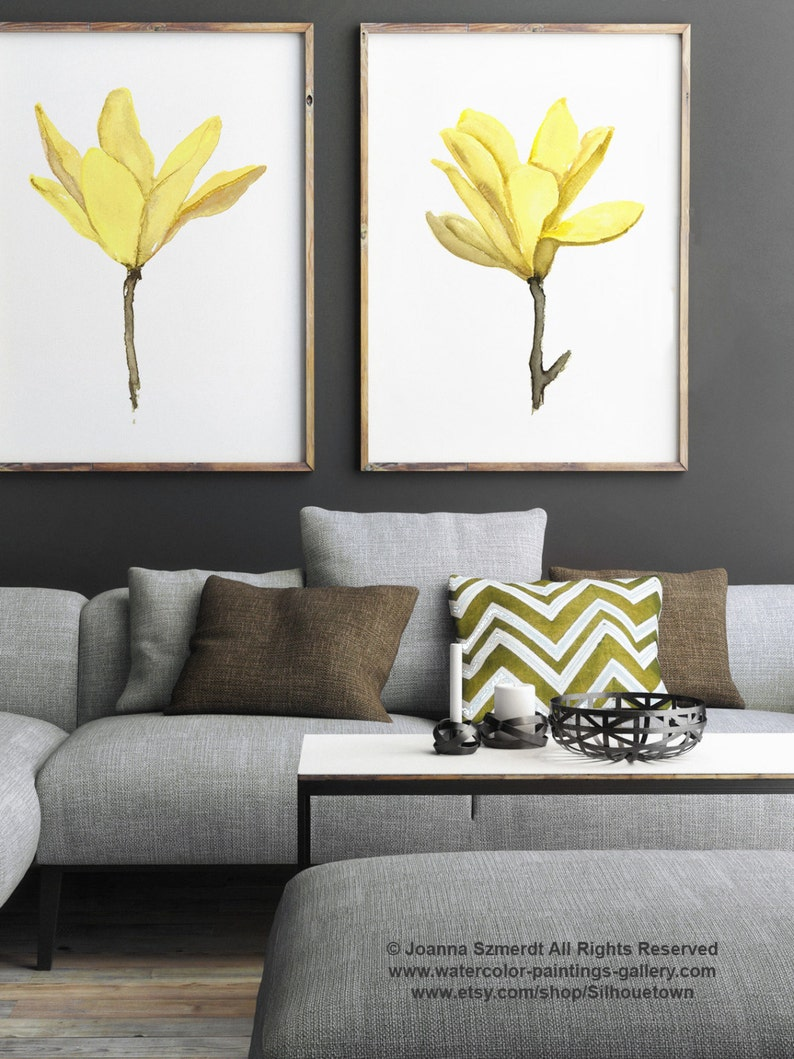 Yellow Magnolia Watercolor Painting Abstract Flowers Set Two Etsy