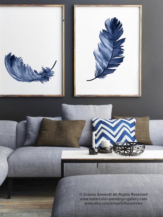 Royal Blue Feather Print Set 2 Leinwand Federn Aquarell | Etsy