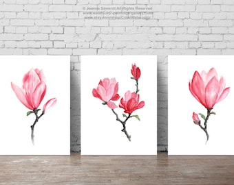 Magnolia Watercolor Prints Three Paintings Set Shabby Chic Pink Home Decor