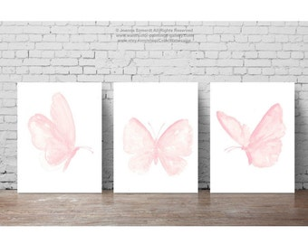 Butterfly Painting, Butterfly Art Print, Pink Butterfly Prints, set of 3 Butterflies, Nursery Shabby Chic Wall Decor