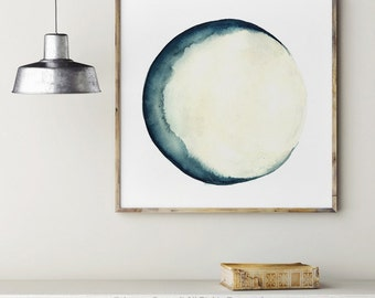 Moon Phases Print Painting Blue Wall Decor, Abstract Full Moon Art Print, New Crescent Luna Solar System Astrology Picture Home Decor