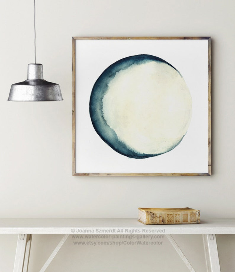 Moon Phases Print Painting Blue Wall Decor Abstract Full Moon image 0