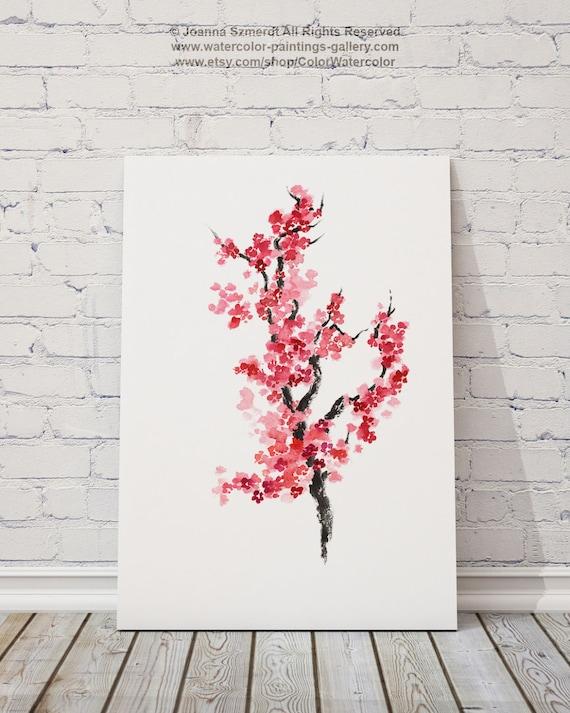 Cerezo Flores acuarela Japonés Home Decor Sakura póster   Etsy