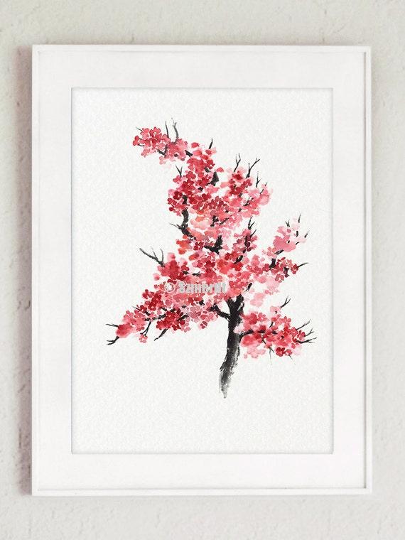 Flor de cerezo japonés Acuarela abstracta de la flor   Etsy