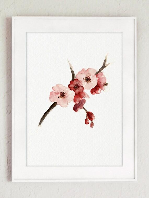 Acuarela de la flor de cerezo Sakura árbol cartel flores de   Etsy