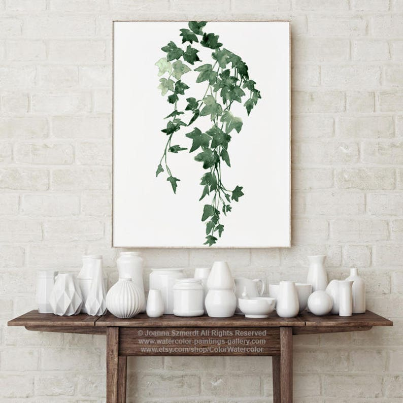 Ivy Watercolour Painting Ivy Art Print Green Wall Decoration image 0