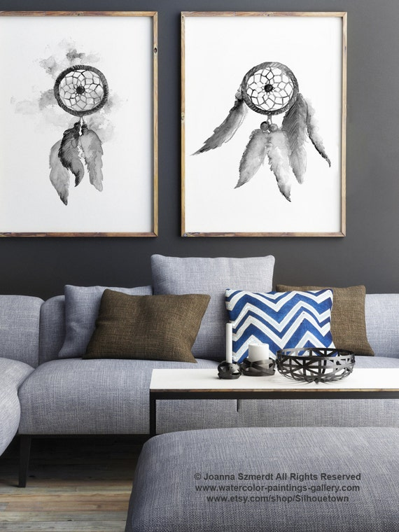Gray Dream Catcher Set Of 2 Native American Abstract Art Print Feather Wall Decor Dreamcatcher Black White Drawing