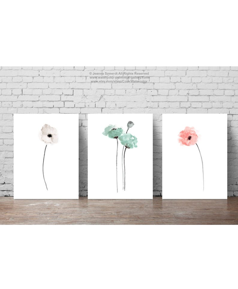 Poppy Watercolor Painting Poppy Art Print Poppy Flower image 0