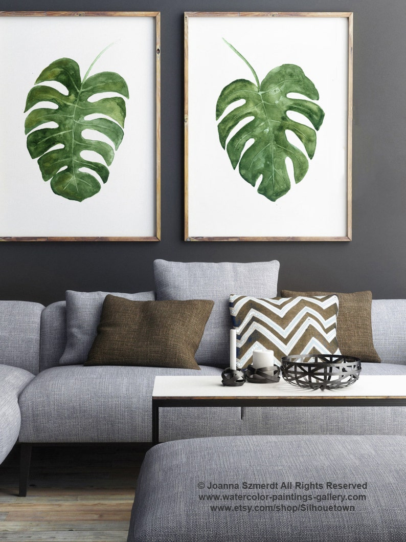 Monstera Deliciosa Plant Art Print Set 2 Leaves Green Watercolor Painting Leaf Botanical Poster Minimalist Modern Room Wall Decoration