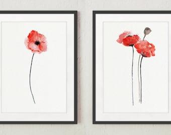 Poppy Painting, Poppy Art Print, Poppy Flower Wall Art, Red Poppy Prints set of 2, Poppies Living Room Wall Decor