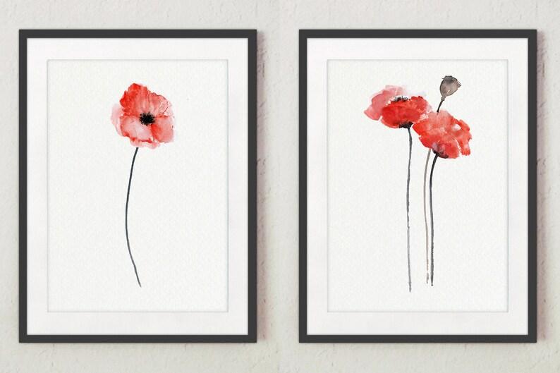 Poppy Painting Poppy Art Print Poppy Flower Wall Art Red image 0