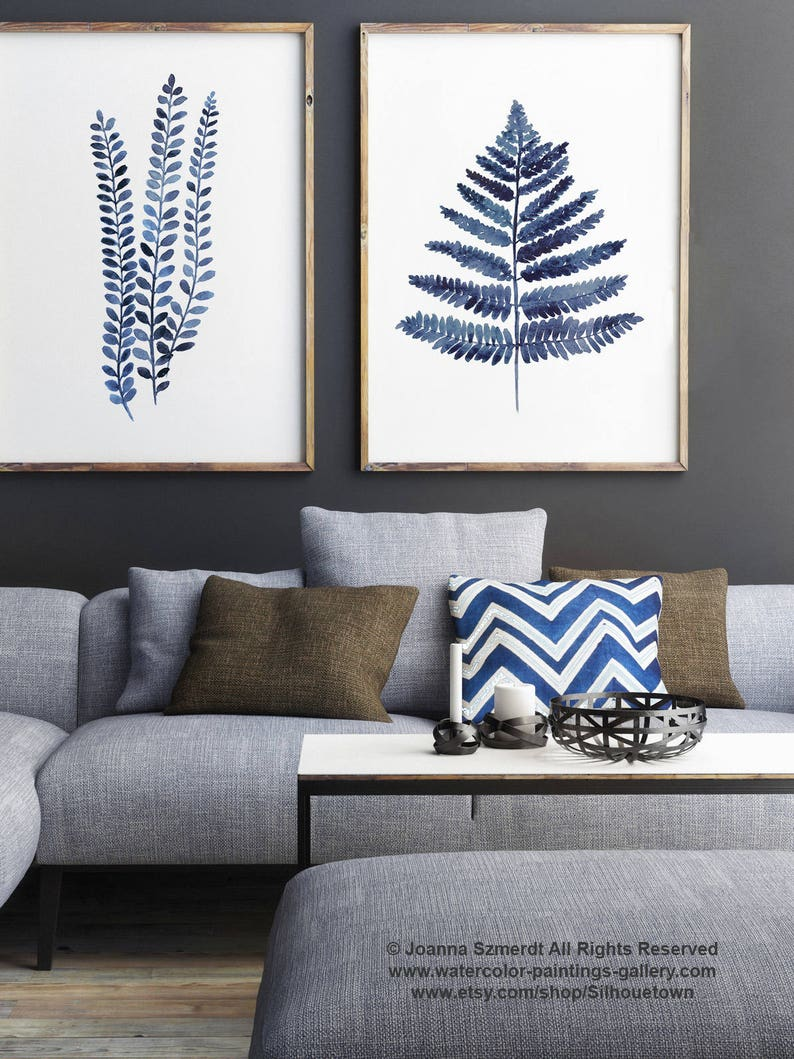 Fern Navy Blue Illustration set 2 Paintings Canvas Blue image 0