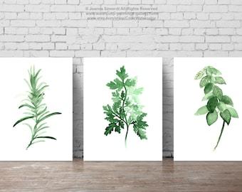 Herbs set of 3, Minimalist Painting, Food Art, Basil Print, Parsley Poster, Rosemary Kitchen Decor