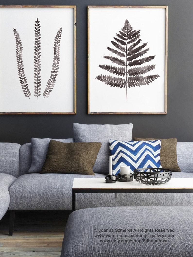 Fern Illustration Set of 2 Ferns Drawing Abstract Leaf Art image 1