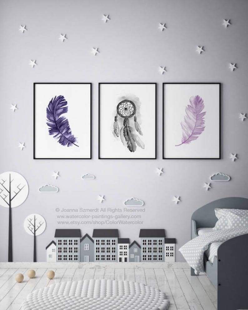 Ensemble De Plume Dreamcatcher Gris Violet Lilas Aquarelle Peinture Sur Toile 3 Chambre Illustration Pépinière Art Mural Imprimé Décor De Chambre