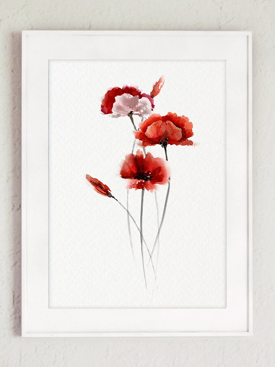 Abstract Poppy Flower Red Living Room Decor Watercolor Etsy