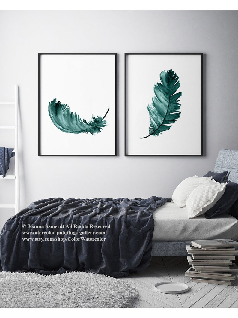 Plume de vert de gris vert deux plumes Art imprimé Animal Turquoise moderne  mur Decor oiseau aquarelle peinture chambre Illustration idée cadeau