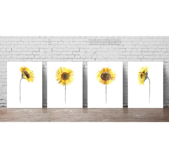 Sonnenblume set 4 gelb grau braun Illustration Esszimmer Home | Etsy