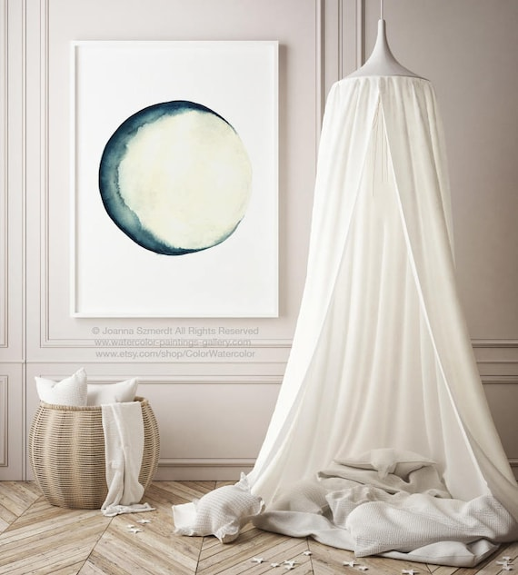 Full Moon Watercolor Painting, Blue Cream Bedroom Decor, Fairy Light New  Home Gift, Moon Phases Turquoise Art Print, Teal White Abstract Art