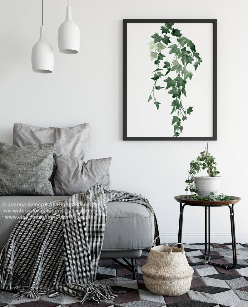 Ivy Watercolour Painting Green Wall Decoration living Room image 0