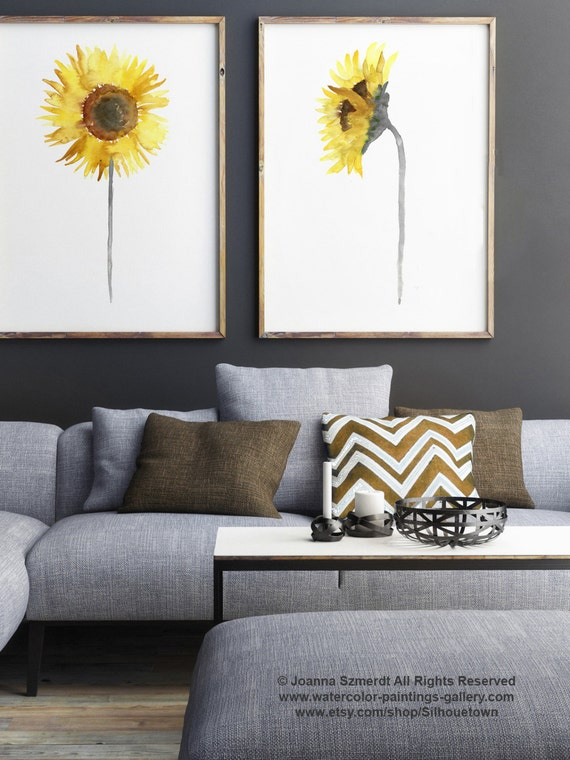 Sonnenblumen Aquarell Set 2 Blumen Abstrakt Gelb Braun | Etsy