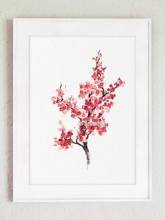 Árbol de flor de cerezo Sakura Home Decor pintura   Etsy