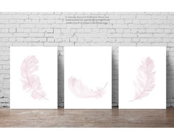 Pale Pink Nursery Wall Art Print, Canvas Fine Watercolor Painting set of 3 Feathers, Light Lilac Feather Kids Room Baby Girl Wall Decoration