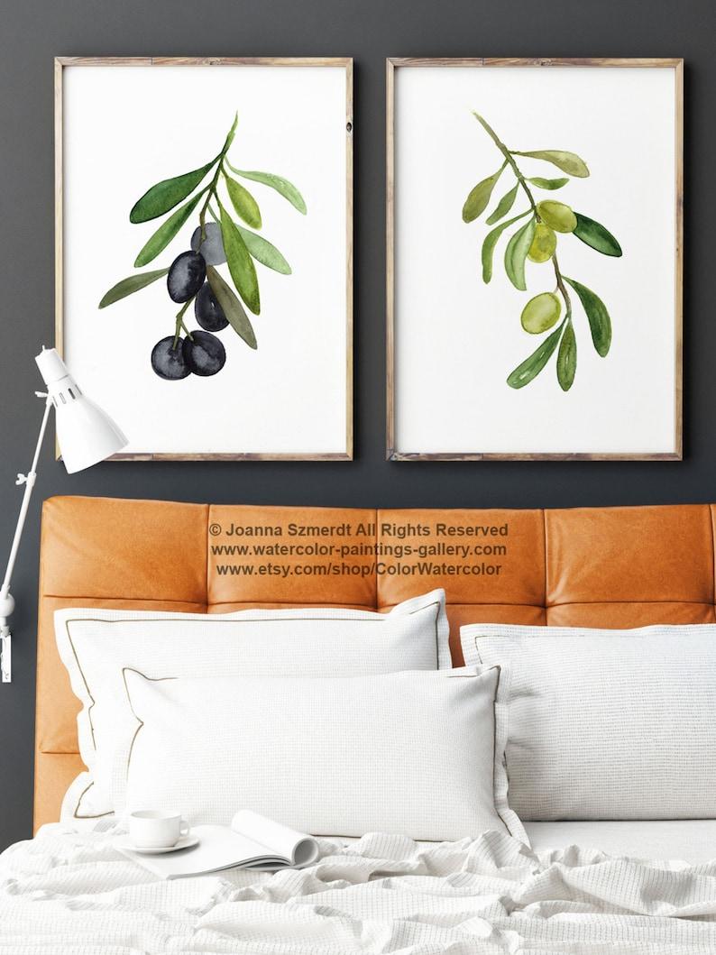 Olive Tree 2 Art Prints Set Black Olive Fruit Watercolor image 0