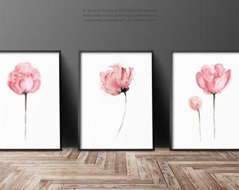 Peony Set of 3, Abstract Flower Peonies Art Print, Minimalist Painting, Pink Flower Nursery Decor