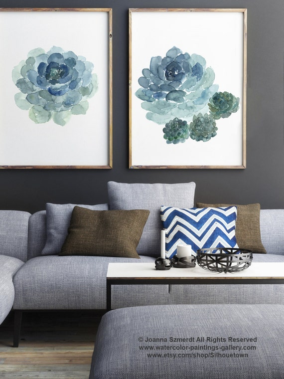 Saftiges Poster Blau Petrol grün Aquarell-Malerei, Kaktus Kunstdruck  botanische Wohnzimmer Dekor Geburtstagsgeschenk für ihre Küche und  Dekoration