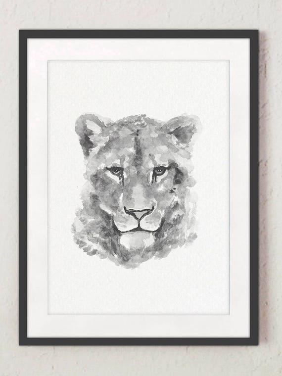 Lion Lionne Illustration Noir Blanc Dessin Minimaliste Animal Art Print Sauvage Animaux Crèche Kids Room Decor Chambre à Coucher Affiche Set 2 Lui Sa