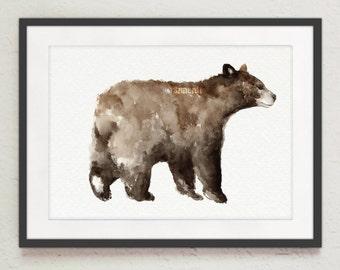 Bear Watercolor Painting, Bear Art Print, Baribal Prints, Brown Bear Home Decor, Nursery Gift Idea