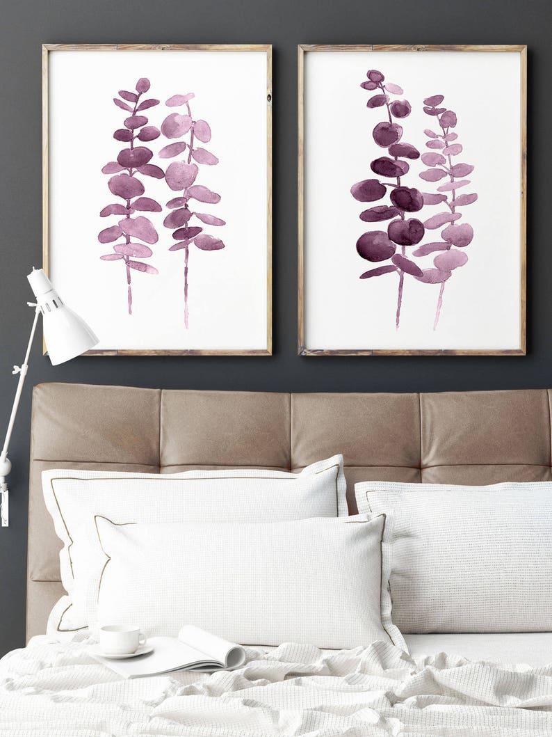 Eucalyptus Purple Print Abstract Minimalist Botanical Art image 0