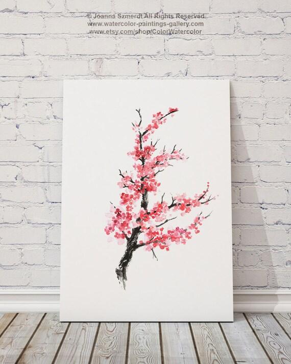 Fleur De Cerisier Arbre Abstrait Dessin A Lencre Fleur Etsy