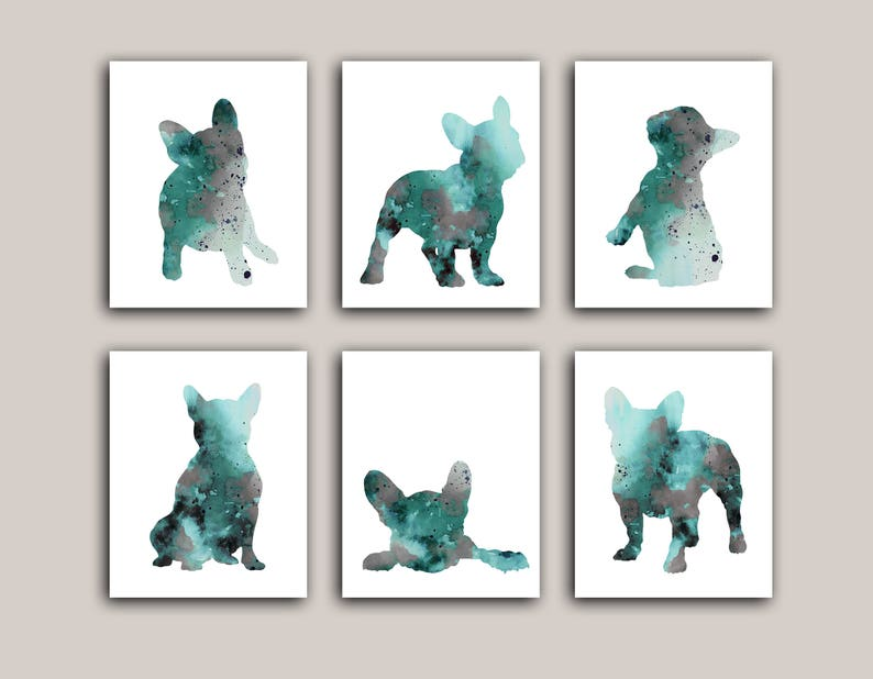 French Bulldog Silhouette set 6 Art Prints Dog Poster image 0