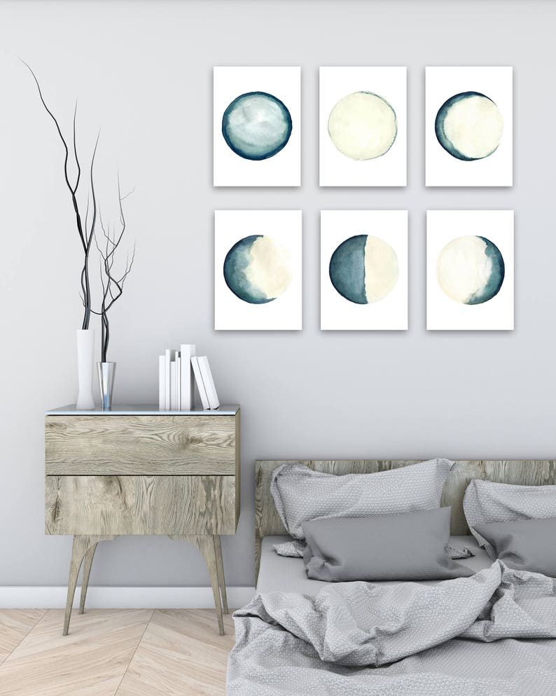 Moon Phases 6 Different Prints Turquoise Teal Cream image 0