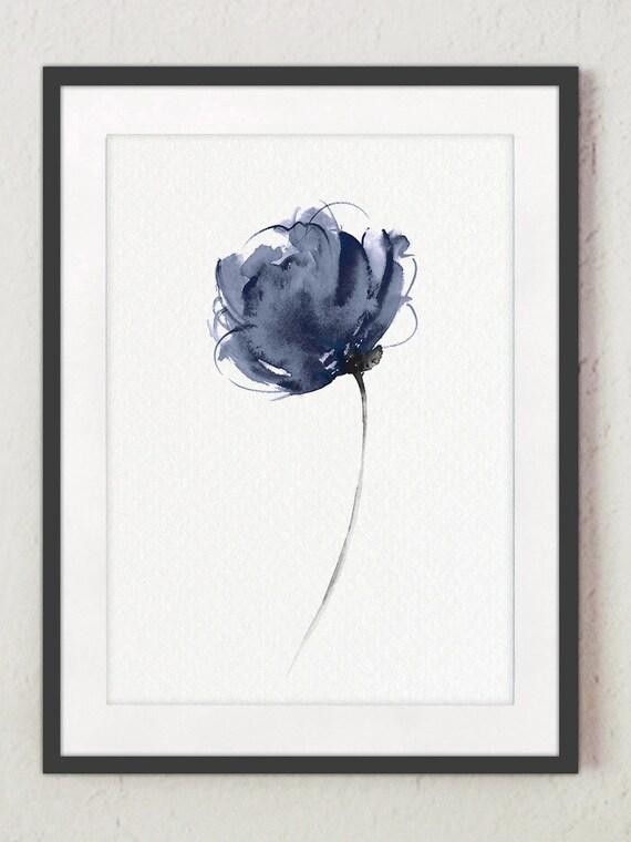 Abstracto acuarela lámina flor Marina pintura de flores | Etsy