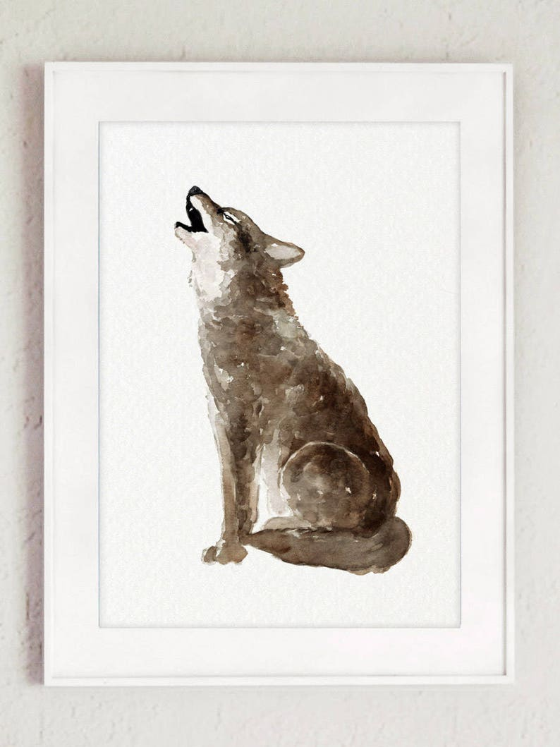 Coyote Canis Latrans Watercolour Painting Brown Grey Art image 0