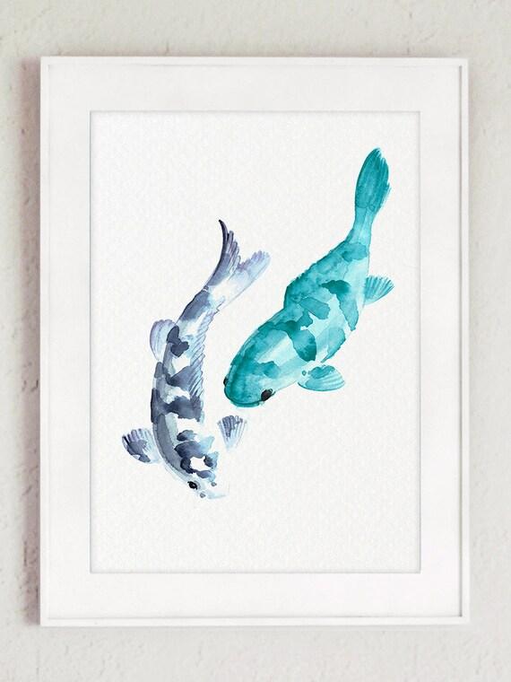 Peces koi animales abstracto de acuarela carpa japonesa | Etsy